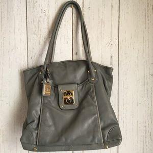 B. Makowsky Gray Large Leather Tote Bag
